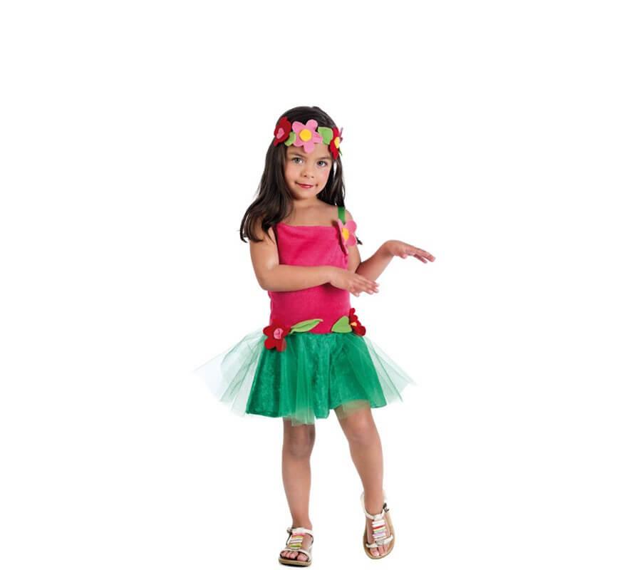 53ad6fa7d4638 Disfraz de Hawaiana con Flores para niña bebé