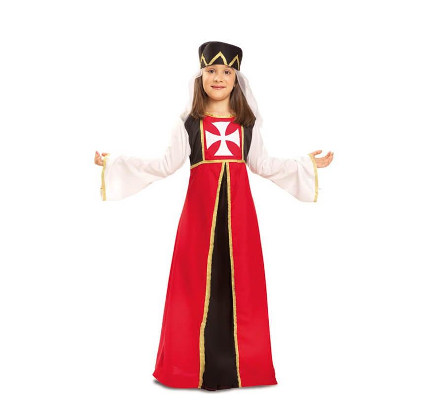 Disfraz de Marquesa de Malta medieval para niña