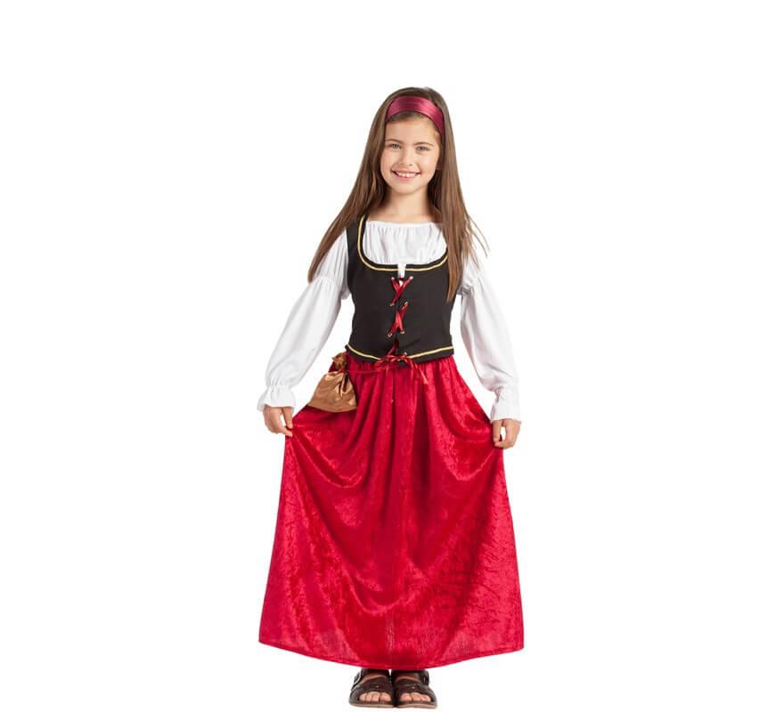 acf469a3e Disfraz de Mesonera Medieval Granate para niña