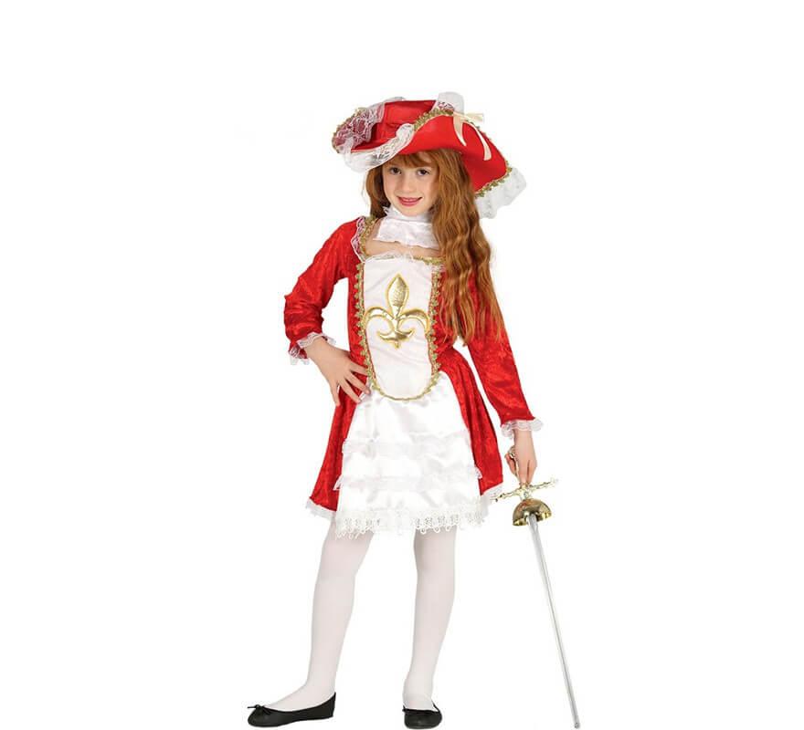 952f42c1e Disfraz de Mosquetera roja Flor de Lis para niña
