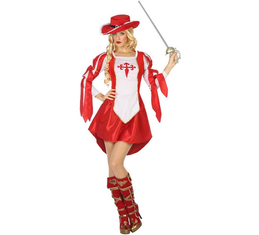 b616ddc88 Disfraz de Mosquetera Rojo y Blanco para mujer