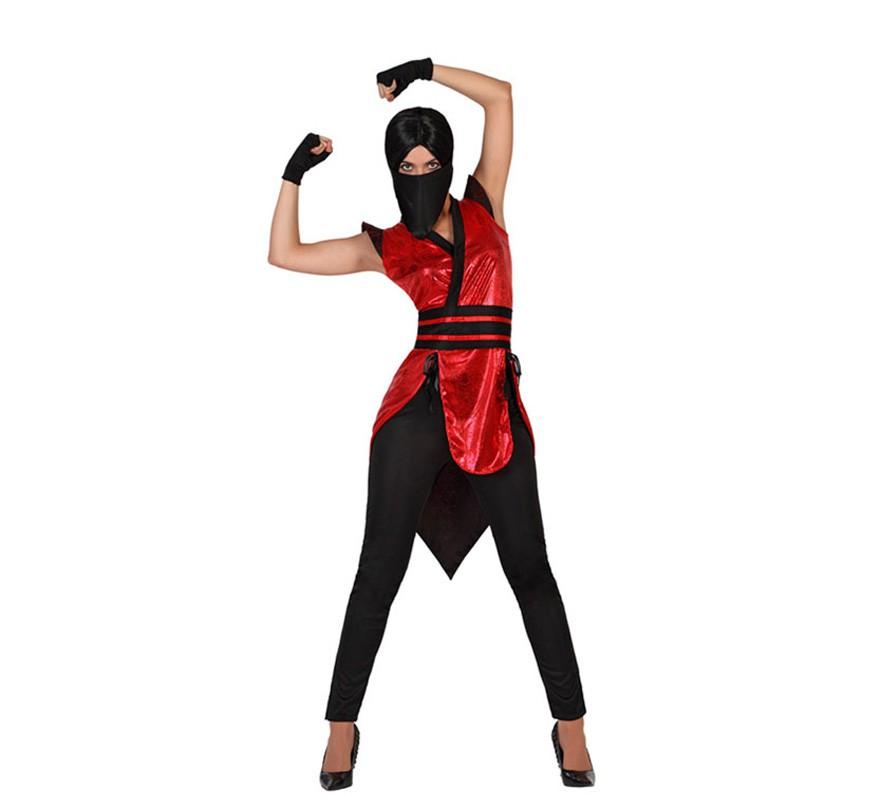 d guisement ninja rojo y noir sexy femme plusieurs tailles. Black Bedroom Furniture Sets. Home Design Ideas