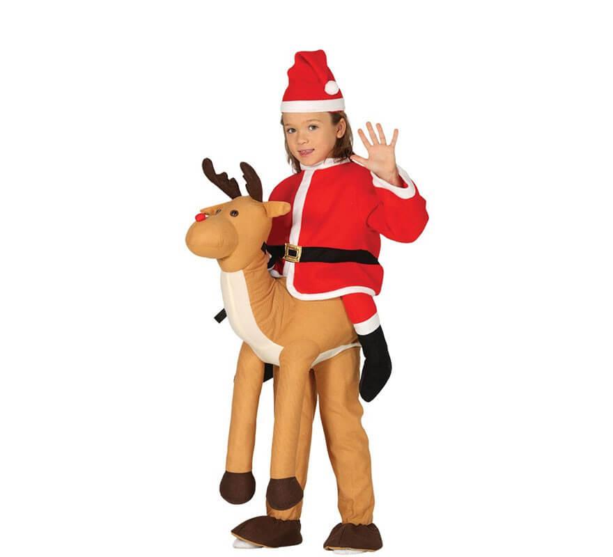 Disfraz de Pap Noel montando Reno para nios