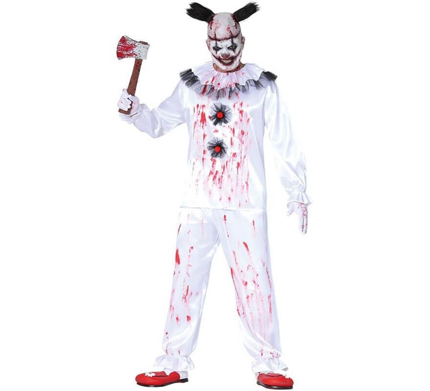 Da Uomo Scuro Da Giullare Clown Del Circo Rosso Nero Costume Halloween Completo