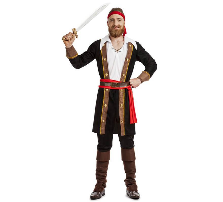 3525bd1058270 Disfraz de Pirata Casaca Negro para hombre