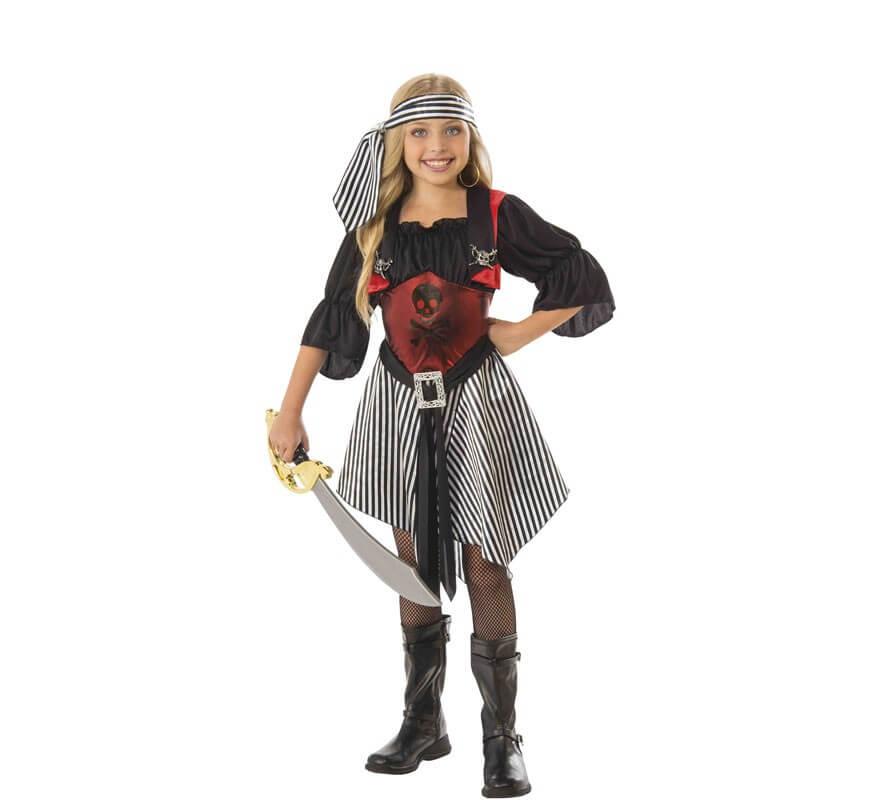 f166c155538 Disfraz de Pirata con Calaveras para niña