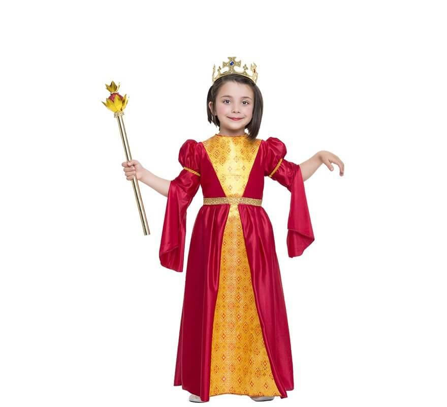 2239c493a Disfraz de Princesa Medieval rojo y dorado para niña