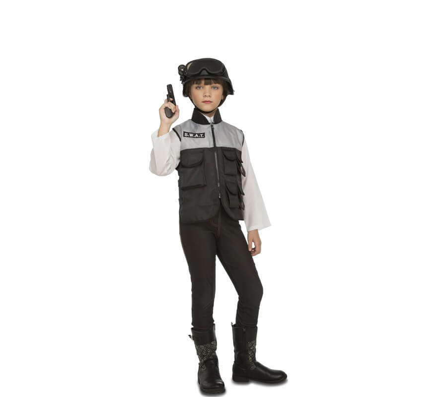 I bambini in plastica Nero SWAT Casco Polizia Militare Costume Festa Cappello