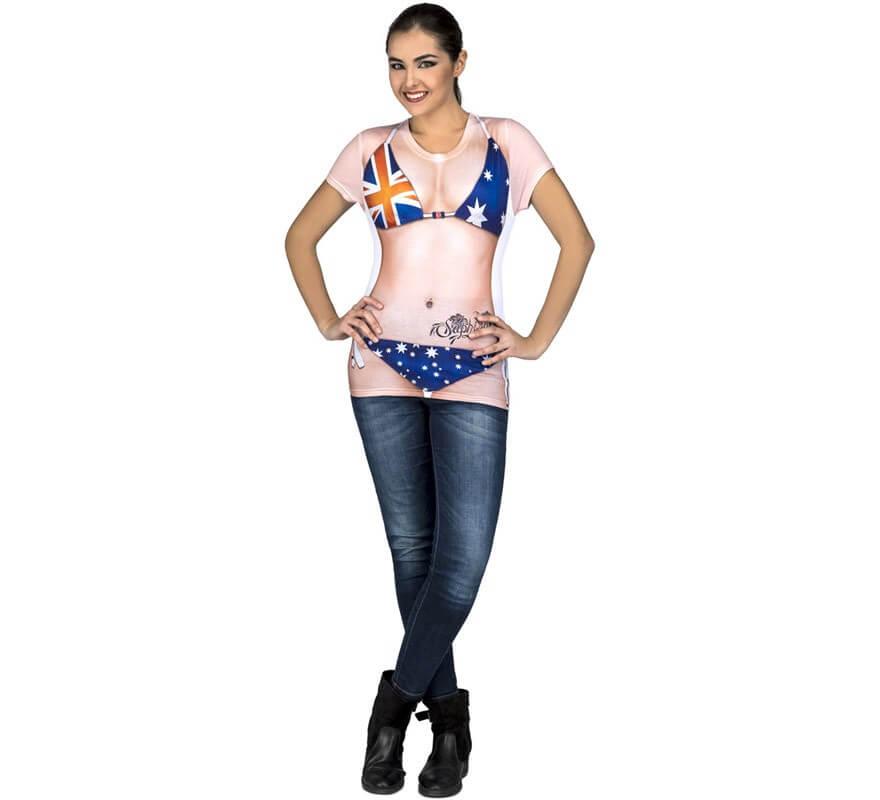 a6a20a77bf57 Camiseta disfraz de Australiana en bikini para mujer