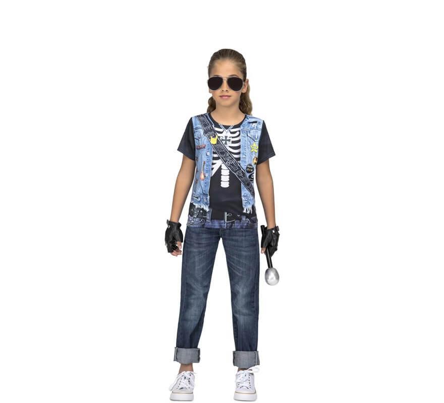 c444f7c8a Camiseta disfraz de Rockera Esqueleto para niña
