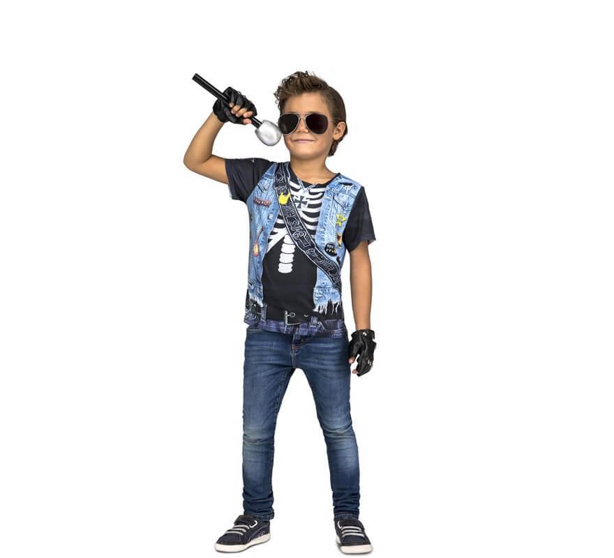primer nivel precios baratass Precio pagable Camiseta disfraz de Rockero Esqueleto para niño