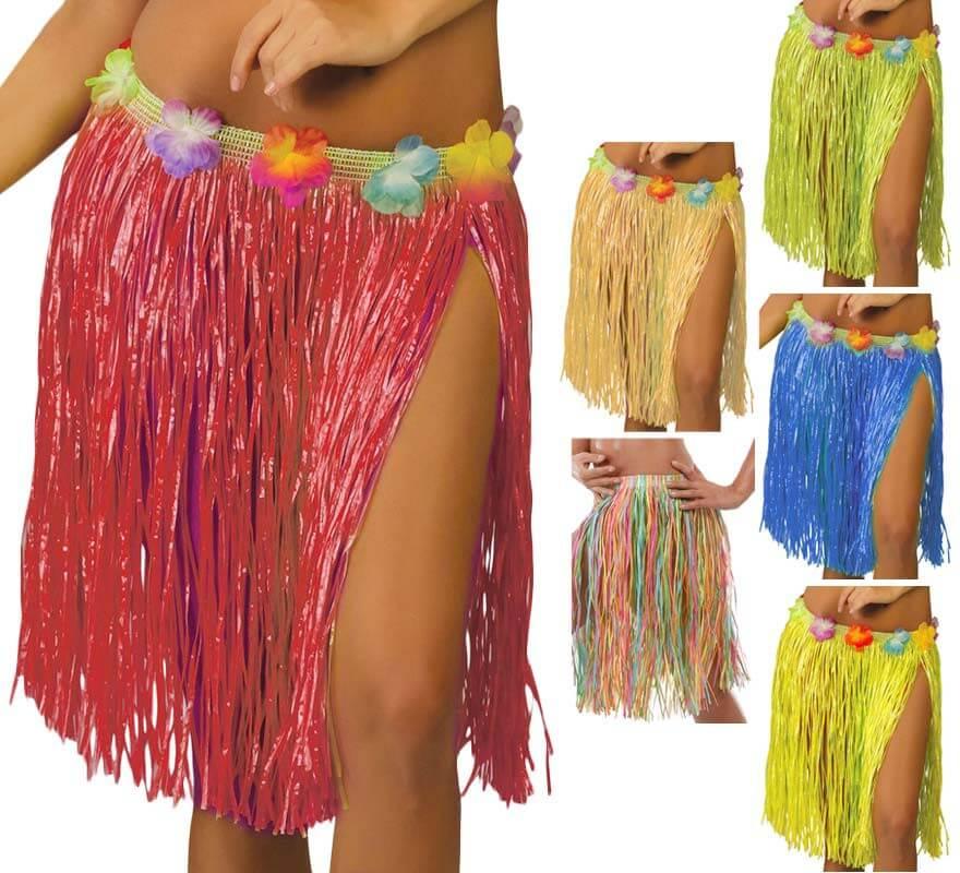 8fb4c8838 Falda Hawaiana con Flores en varios colores 45 cm
