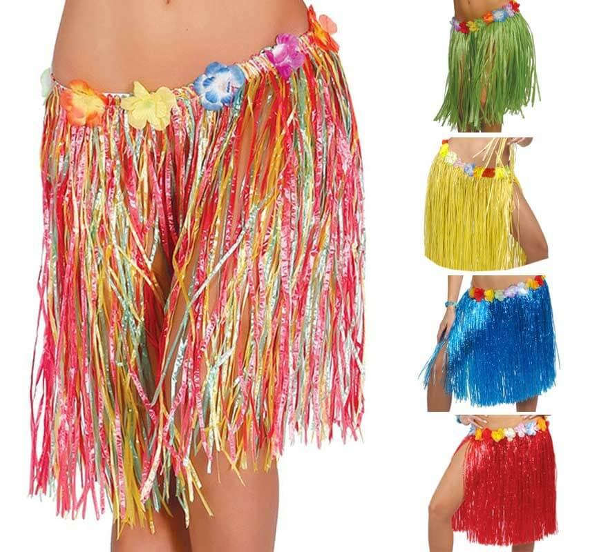 40cf5a24d Falda Hawaiana con Flores en varios colores 50 cm