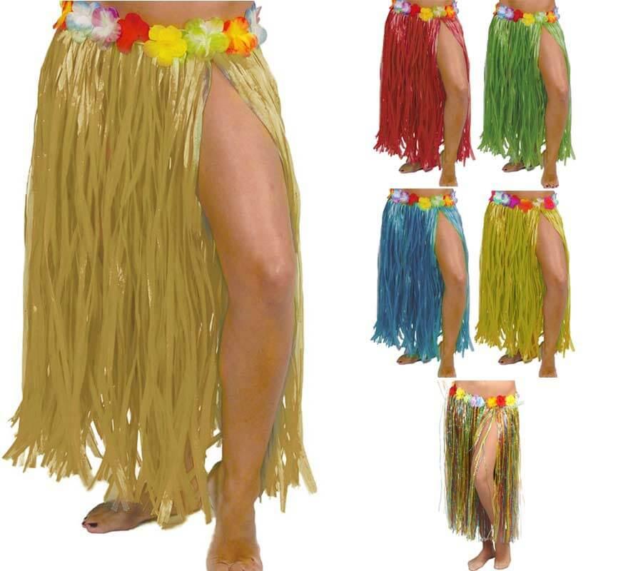 4ebb75e2d Falda Hawaiana con Flores en varios colores 75 cm