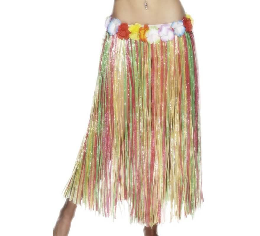 60a434a2d Falda Hawaiana Larga multicolor con flores 79cm
