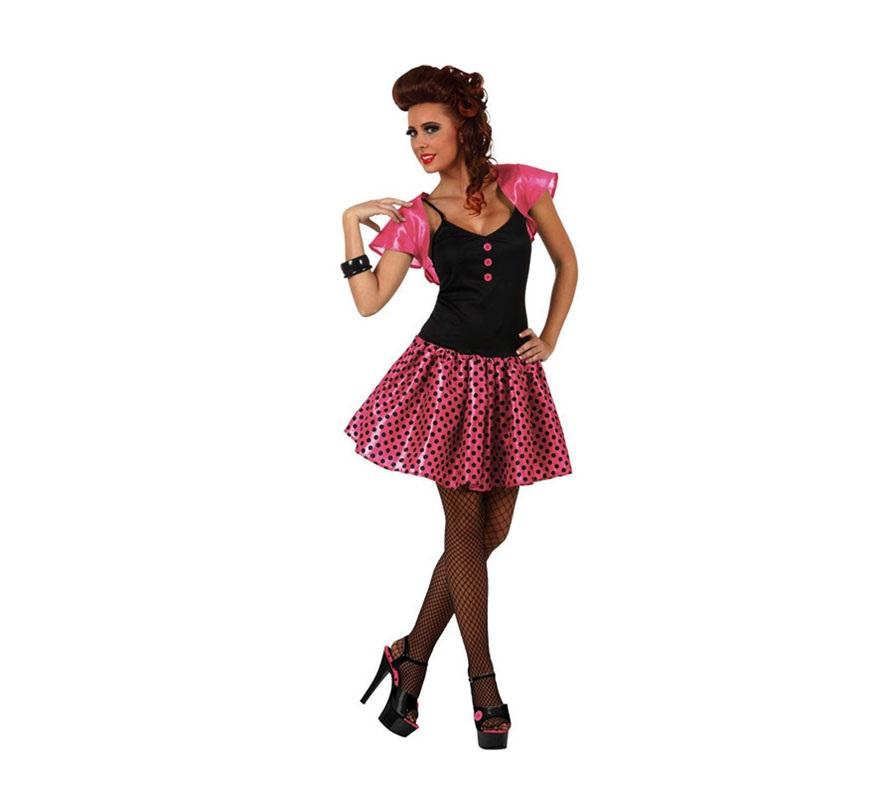 Disfraz de chica de los a os 60 rosa mujer for Disfraces de los anos 60