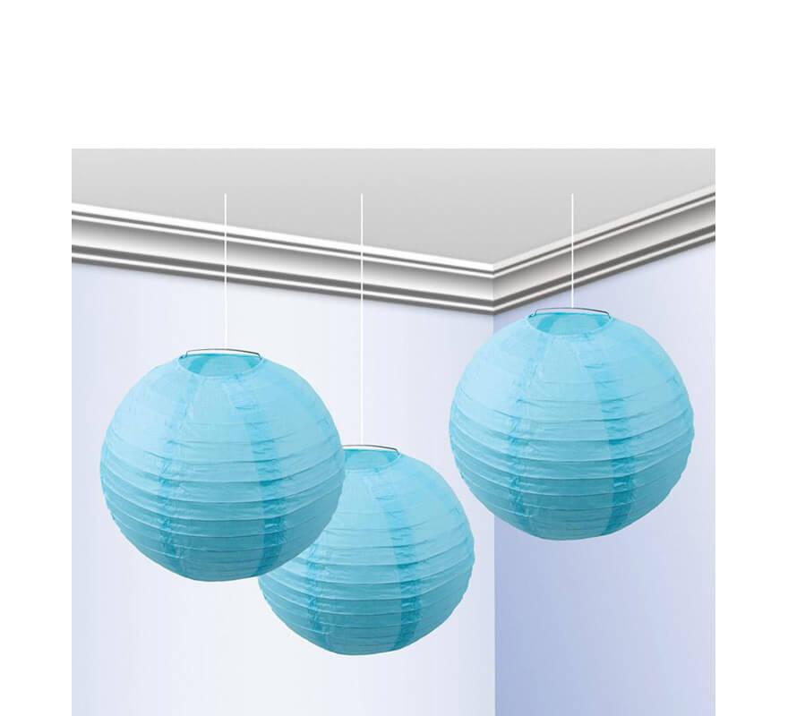 Bolsa de 3 faroles de 25 cm de color azul celeste