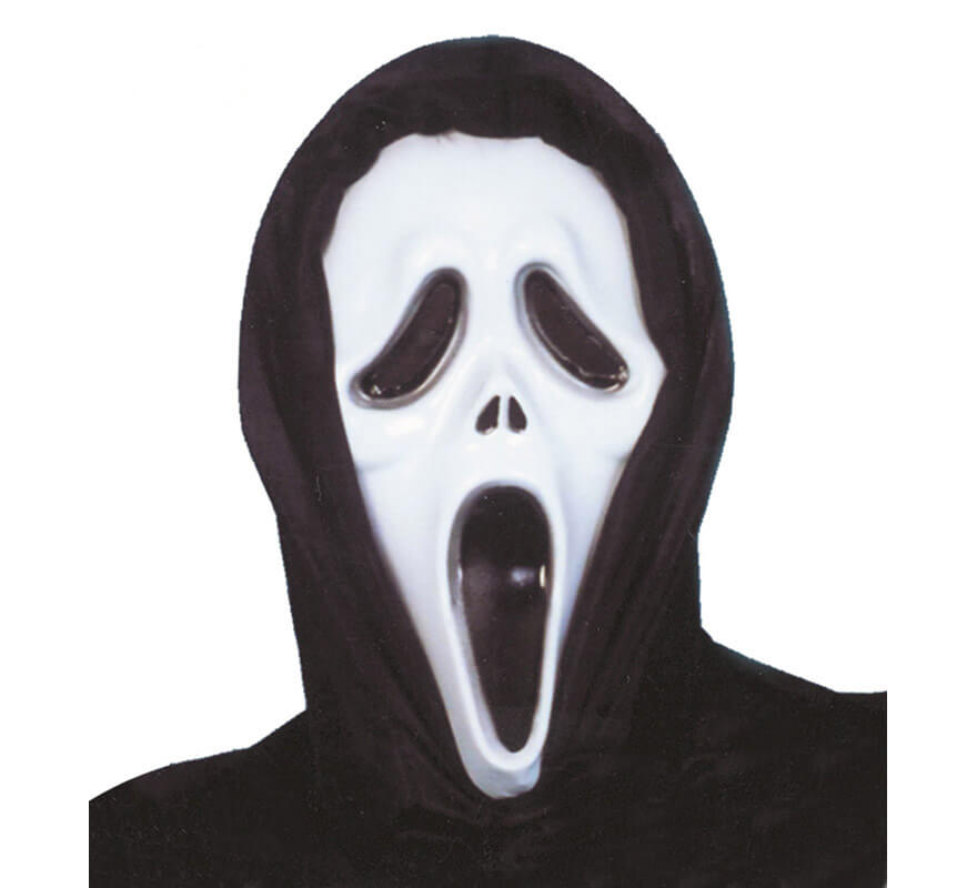 Careta Scream plástico con Capucha para Halloween
