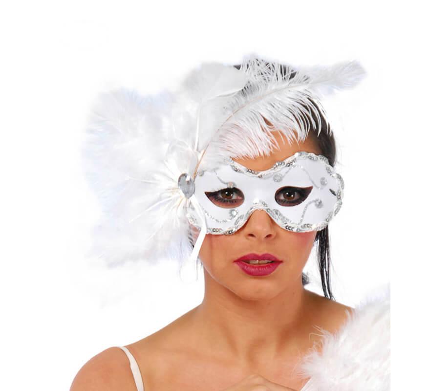 Antifaz Veneciano blanco con plumas y lentejuelas
