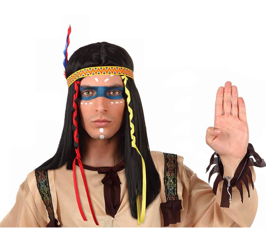 peluca de indio con plumas