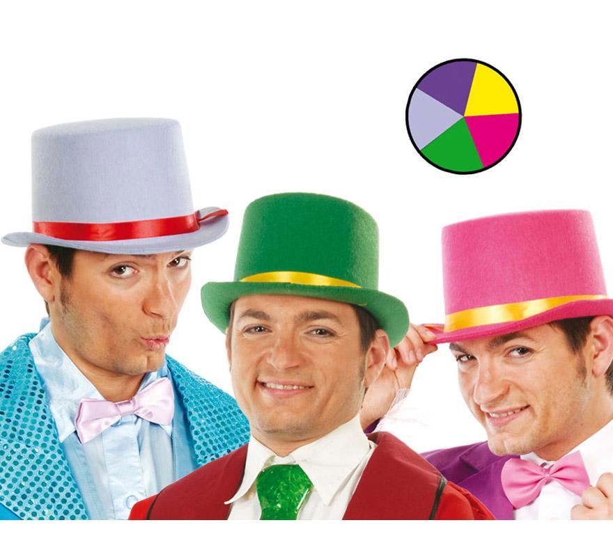 Sombrero Chistera con cinta de Payaso varios colores