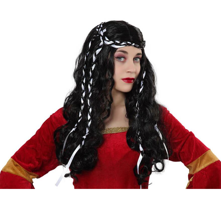 Perruque Dame Médiévale Brune avec Ruban