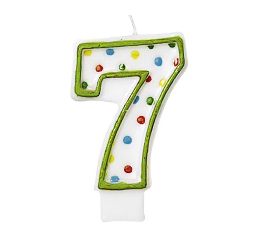 Vela Puntitos de colores con el número 7 para cumpleaños