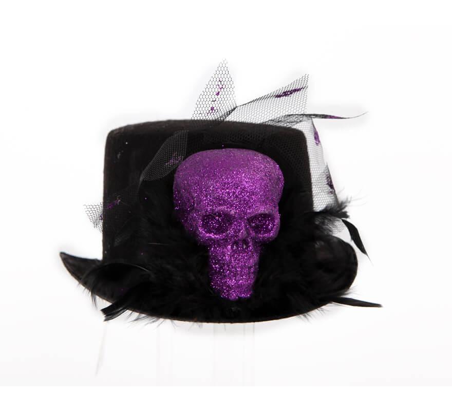 Sombrero negro con cráneo y plumas para Halloween eeb6c64f785