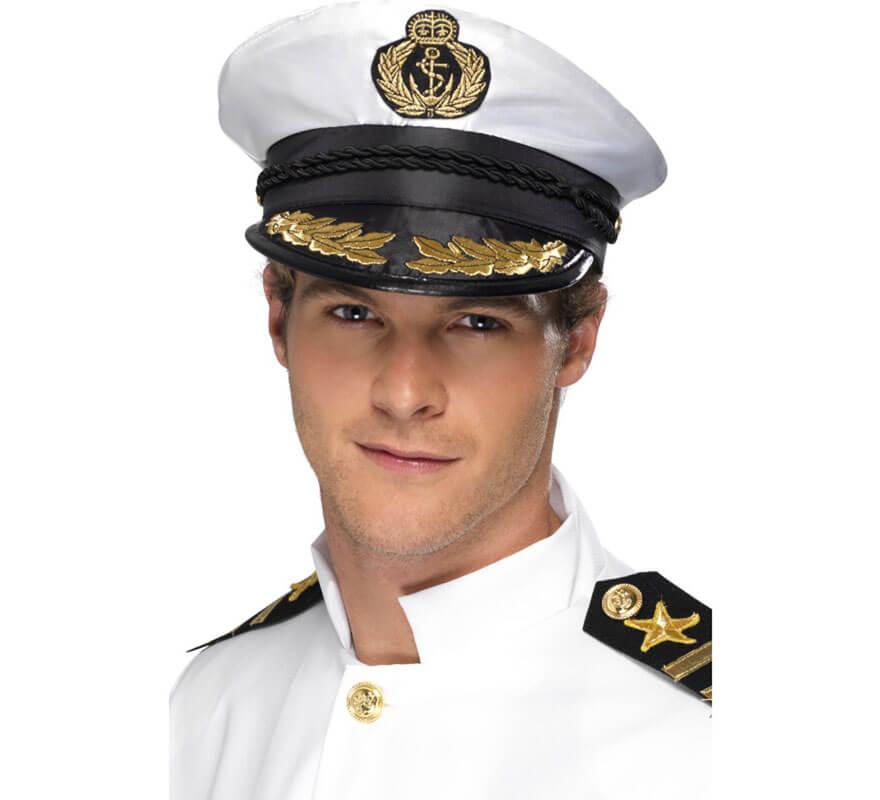 Gorra de Capitán de la Marina Blanca con detalles Dorados 57b06818a04