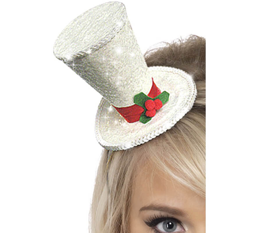 Mini Sombrero de Copa color Plata para Navidad