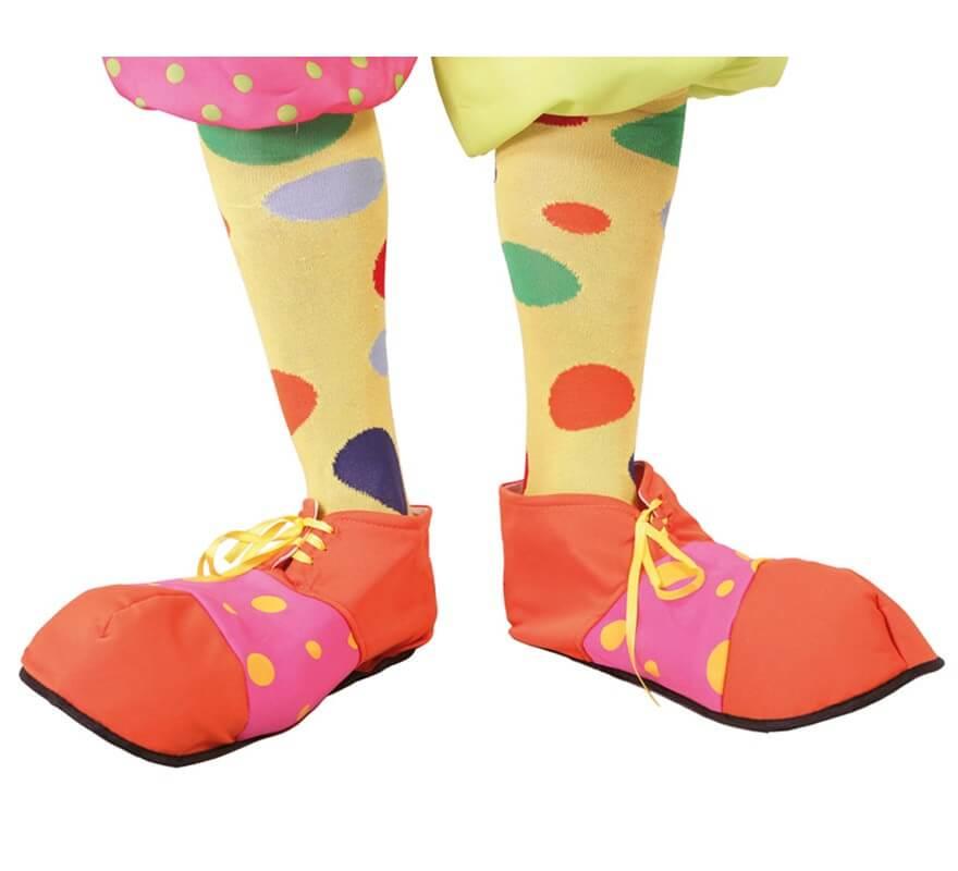 Zapatos de Payaso naranja y rosa de tela 705640ba5b7b