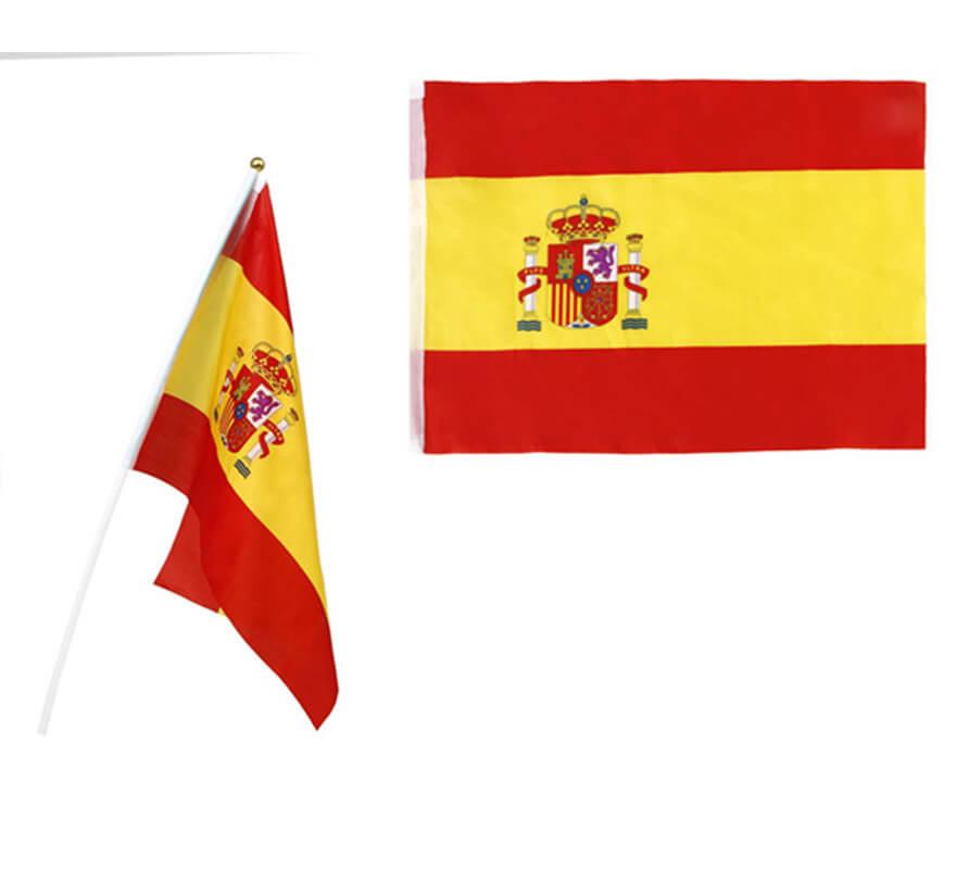 Petit drapeau d 39 espagne de 45x30 cm avec poign e en plastique - Drapeau d espagne a colorier ...