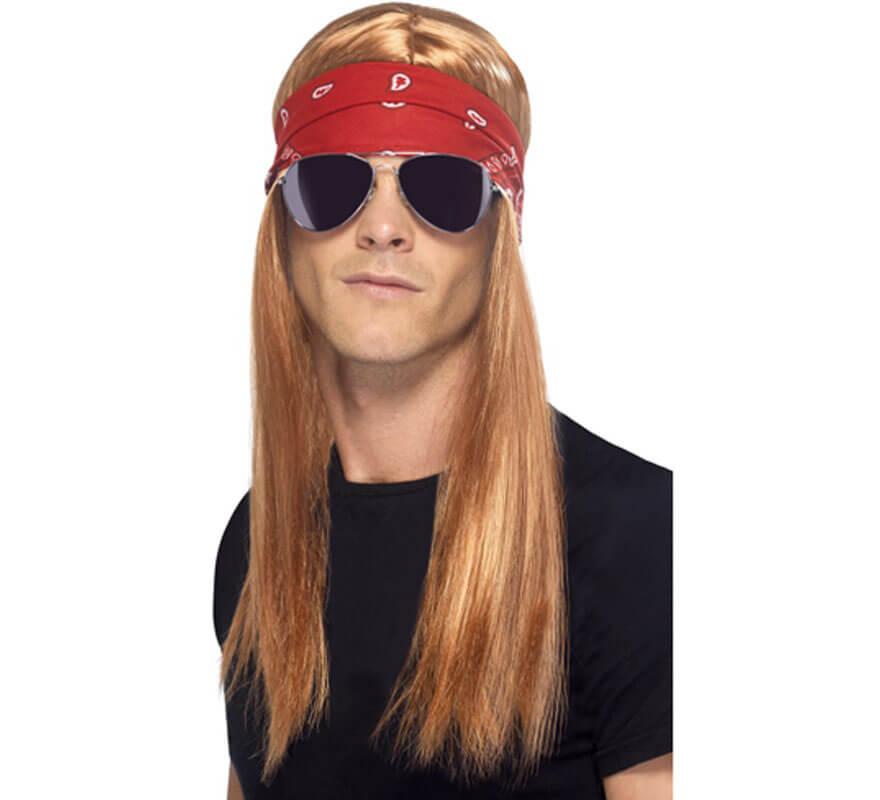 Kit Rockero de los 90 Bandana peluca y Gafas de Sol (T.Universal)