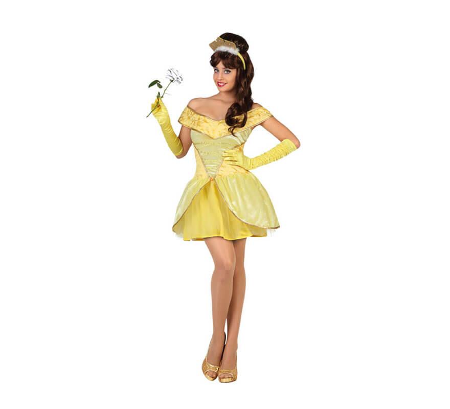 abdb73deaad Disfraz de Princesa Bella amarilla para mujer
