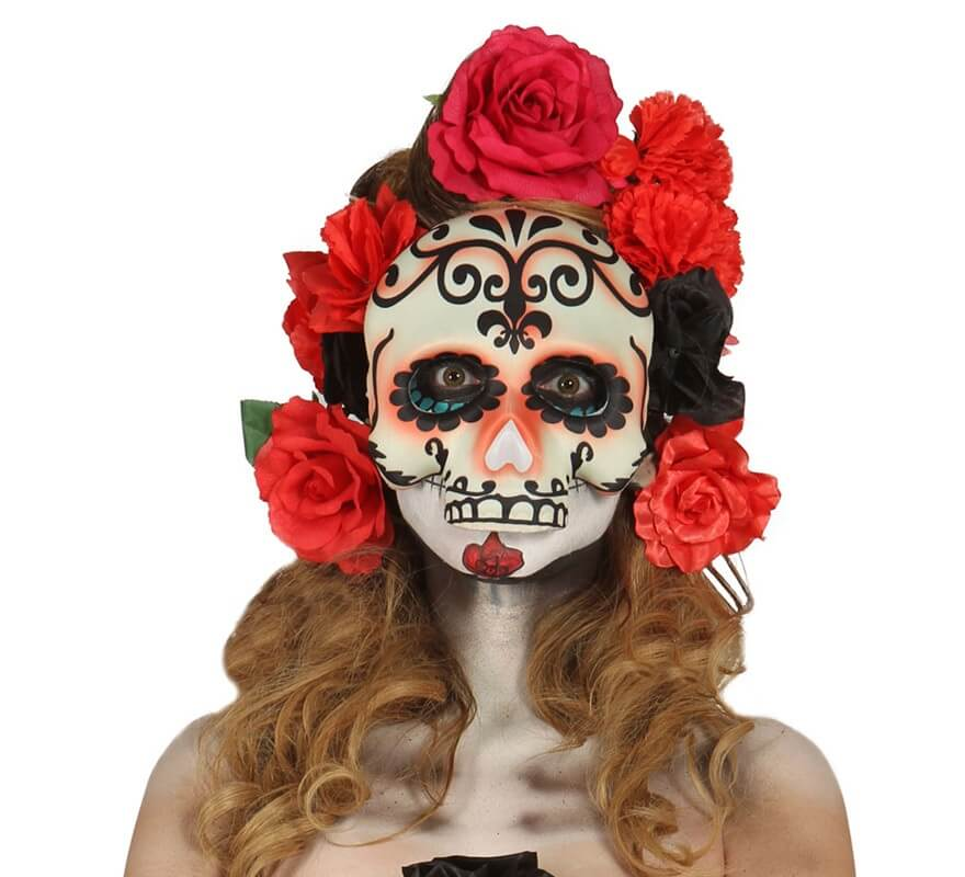 Media careta de calavera para halloween for Caretas disfraces
