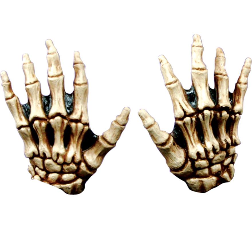Manos de Esqueleto infantiles color hueso latex