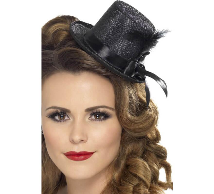 Mini Sombrero Chistera Burlesque Negro con Pluma para Mujer 1cb91d996a6