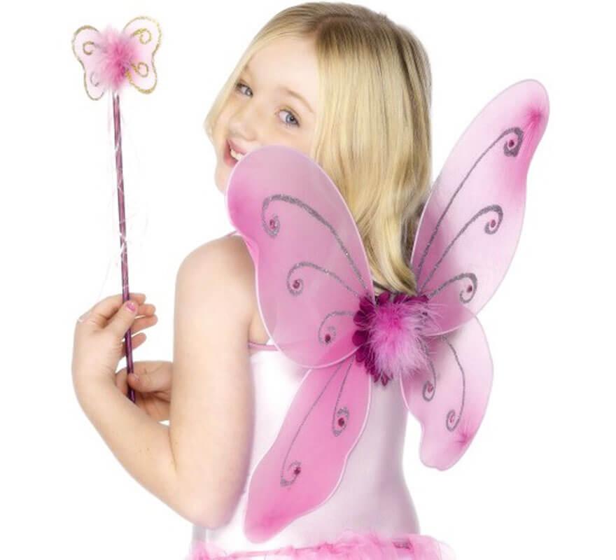 Kit Hada Rosa Infantil: Alas de mariposa y Varita Mágica