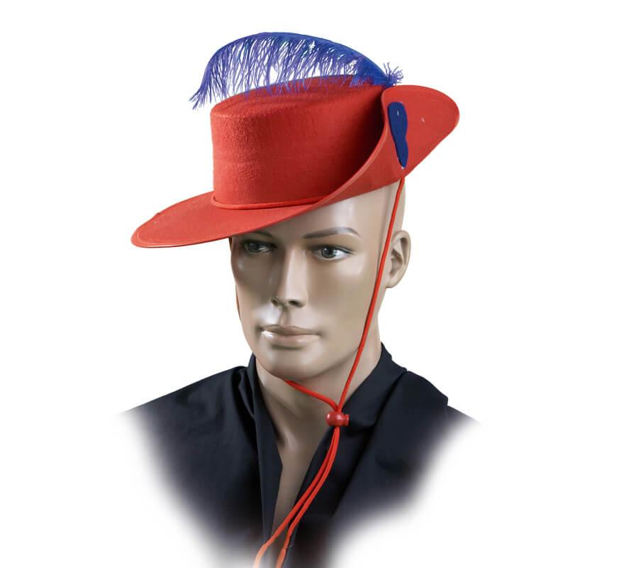 cbe0a01acd672 Sombrero Mosquetero Rojo de fieltro con pluma para adultos