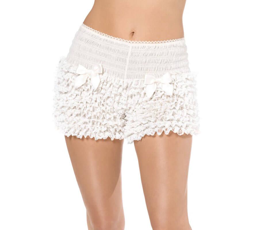 Pantalones Cortos o Short Blancos con Volantes de Encaje