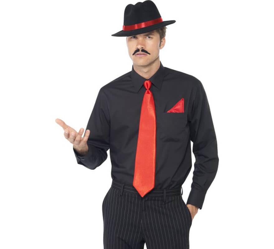 Kit de Gánster Rojo: Sombrero, Corbata y Pañuelo
