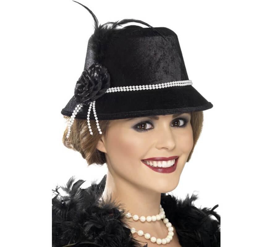 Sombrero Negro Flapper Locos Años 20 para Mujer afa7b7677023