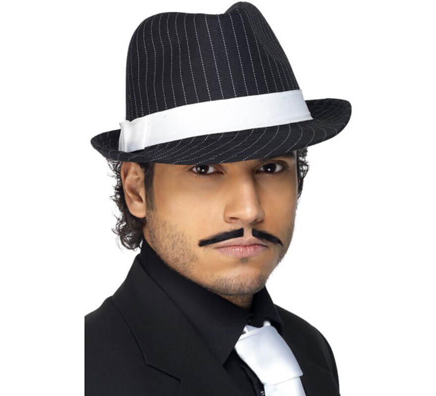 Sombrero Trilby de Gánster Negro a rayas Blancas