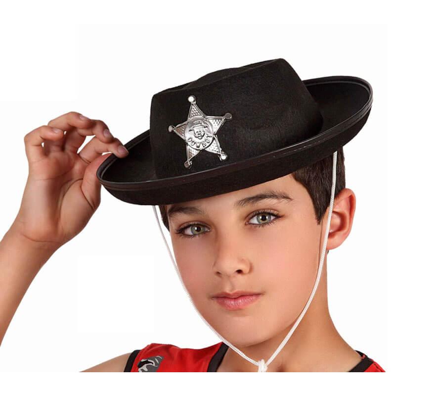 3f8223ae98e29 Sombrero Sheriff negro con estrella para niños