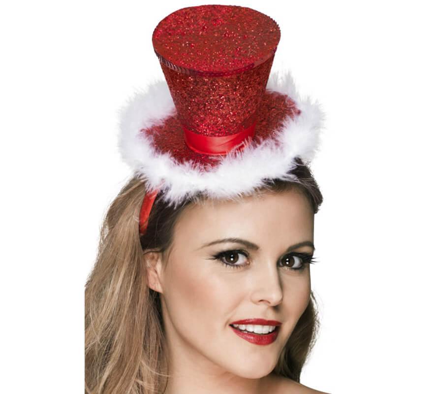 Mini Sombrero de Copa Rojo Brillante con Marabú para Navidad