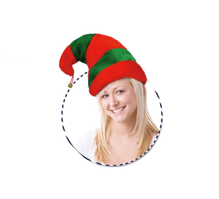Gorro o Sombrero de Elfo rojo y verde con cascabel 62cfe832b265