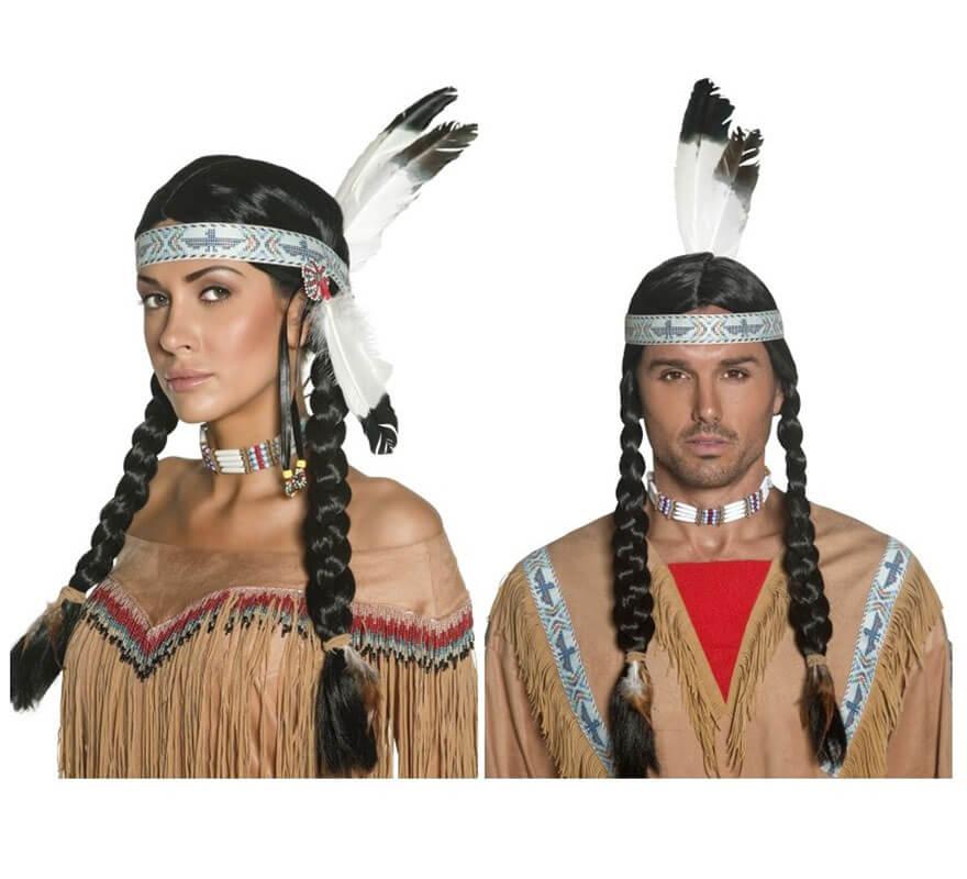 Peluca India o Indio Nativo y Penacho para hombre o mujer