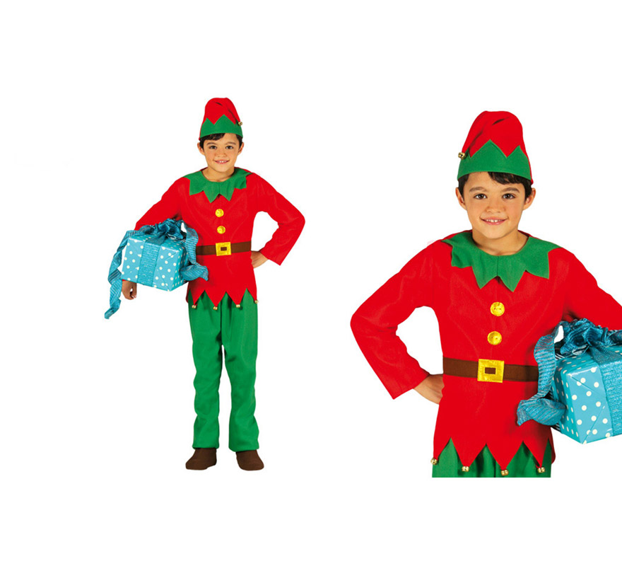 Disfraz de elfo verde y rojo para ni os - Disfraces de duendes navidenos para ninos ...