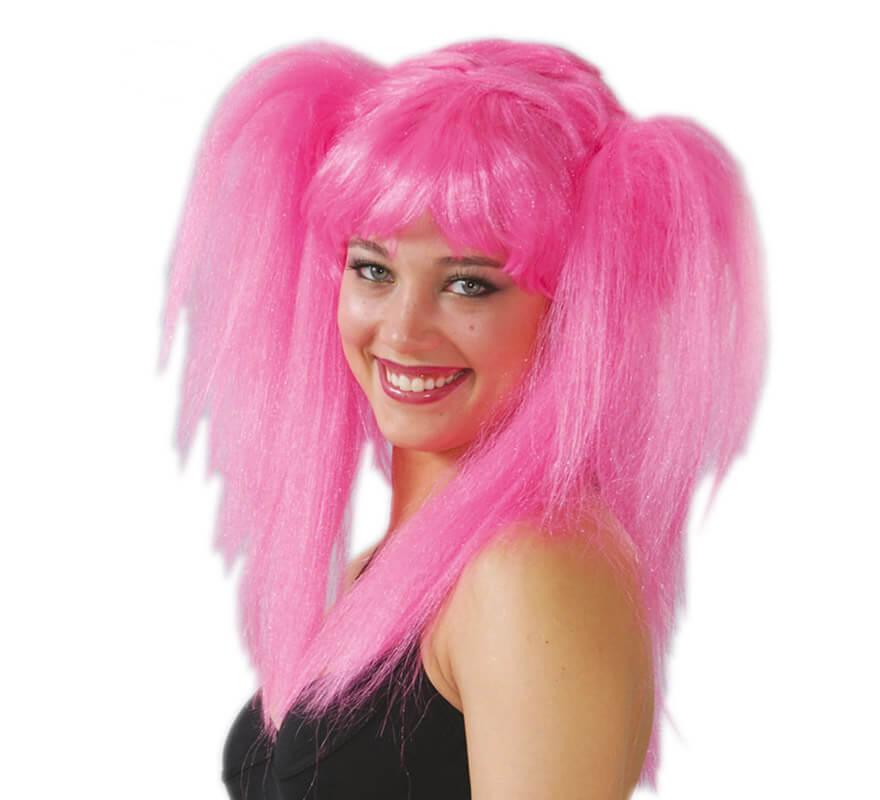 Peluca Rockera con coletas rosa