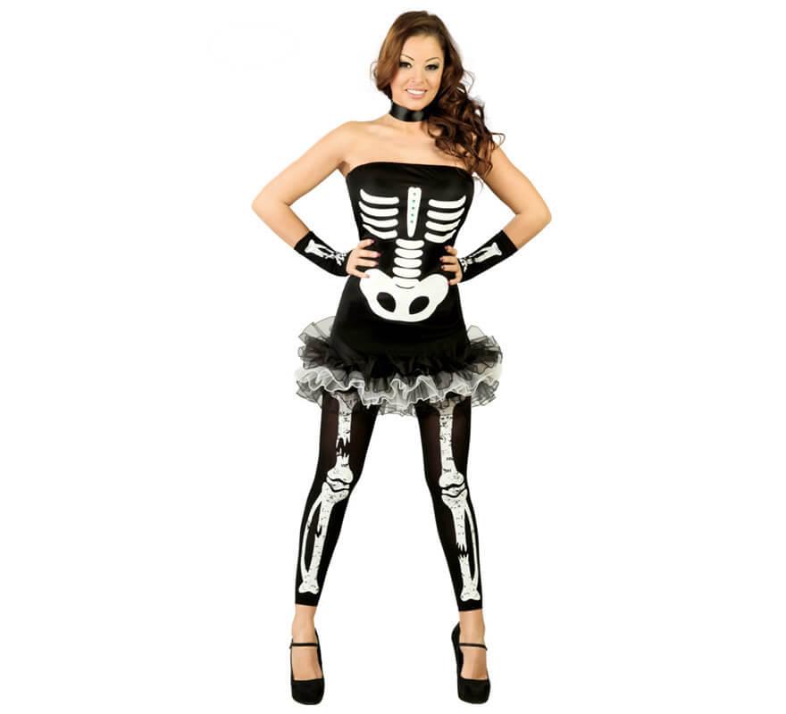 d guisement de squelette sexy halloween pour femme taille 38 40. Black Bedroom Furniture Sets. Home Design Ideas